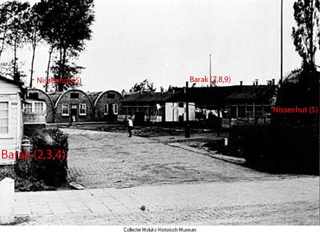 Moluks woonoord Lingebrug met de gebouwen van de plattegrond aangegeven.